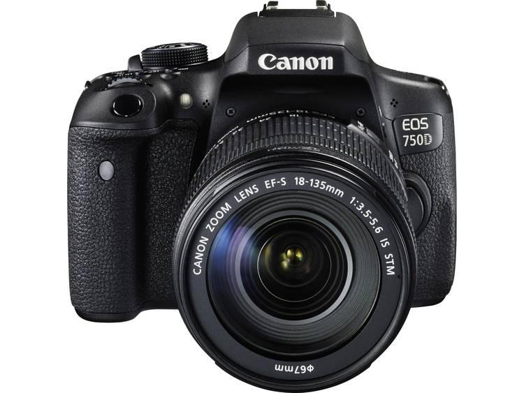 Canon EOS 750D Digitale spiegelreflexcamera Incl. EF-S 18-135 mm IS STM lens 24.2 Mpix Zwart Flitsschoen, Draai- en zwenkbare display, Elektronische zoeker,