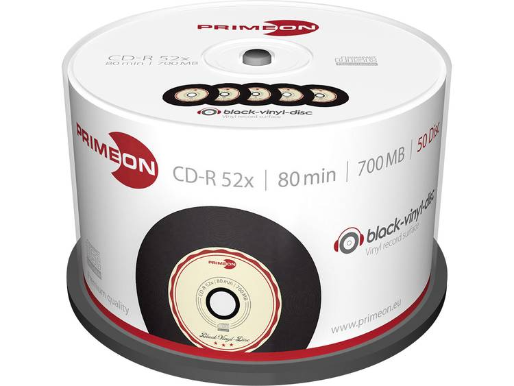 Primeon 2761108 CD-R 80 disc 700 MB 50 stuks Spindel Vinyl