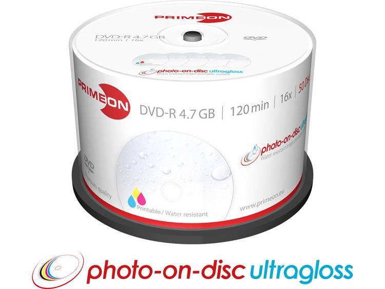 DVD-R disc 4.7 GB Primeon 2761207 50 stuks Spindel Bedrukbaar, Hoogglans opppervlak, Watervast, Onuitwisbaar