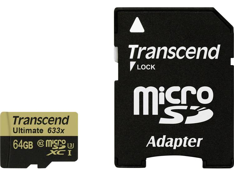 Transcend Ultimate (633x) microSDXC-kaart 64 GB Class 10, UHS-I, UHS-Class 3 incl. SD-adapter