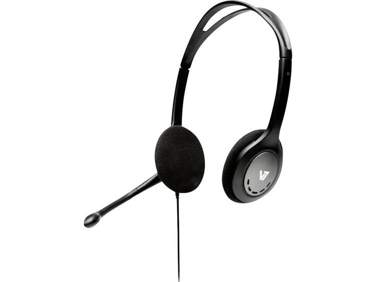 V7 Videoseven HA201-2EP PC-headset 3.5 mm jackplug Kabelgebonden, Stereo On Ear Zwart/zilver