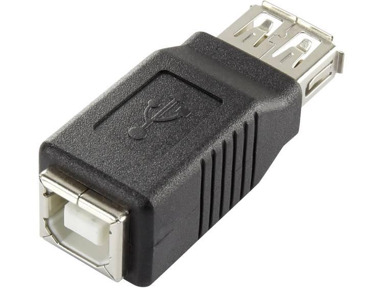 Renkforce USB 2.0 Adapter [1x USB 2.0 bus A 1x USB 2.0 bus B] Zwart Vergulde steekcontacten