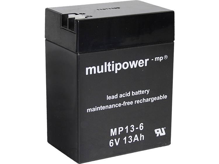 multipower MP13-6 Loodaccu 6 V 13 Ah Loodvlies (AGM) (b x h x d) 108 x 140 x 70 mm Kabelschoen 4.8 mm, Kabelschoen 6.35 mm Onderhoudsvrij, Geringe zelfontlading