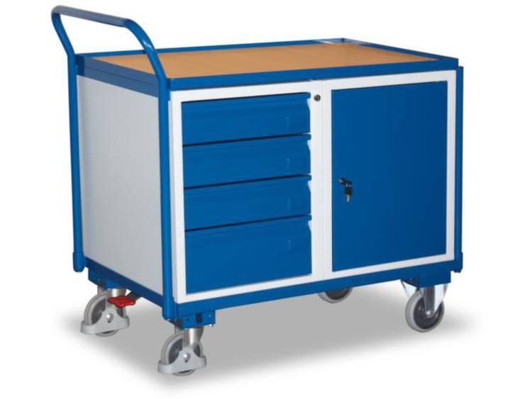 Tafel- en kastwagen,draagverm. 250kg,laadvl. LxB 1000x600mm,4laden,1kast,RAL5010