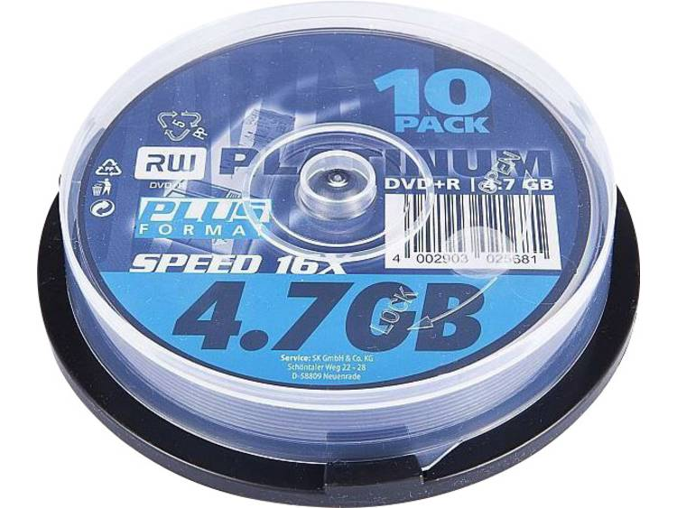 DVD+R disc 4.7 GB Platinum 102568 10 stuks Spindel