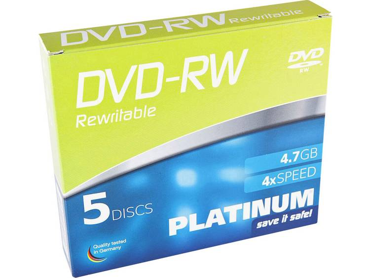 DVD-RW disc 4.7 GB Platinum 102570 5 stuks Slimcase Herschrijfbaar
