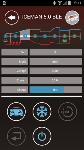 Druppellader VOLTCRAFT VC12V / 5A ICEMAN 5R Bluetooth VC12V / 5A ICEMAN 5R Bluetooth® 12 V 0.8 A, 5 A