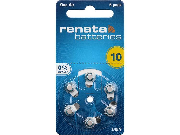 ZA10 Knoopcel Zink-lucht 1.4 V 105 mAh Renata Hearing Aid PR70 6 stuk(s)