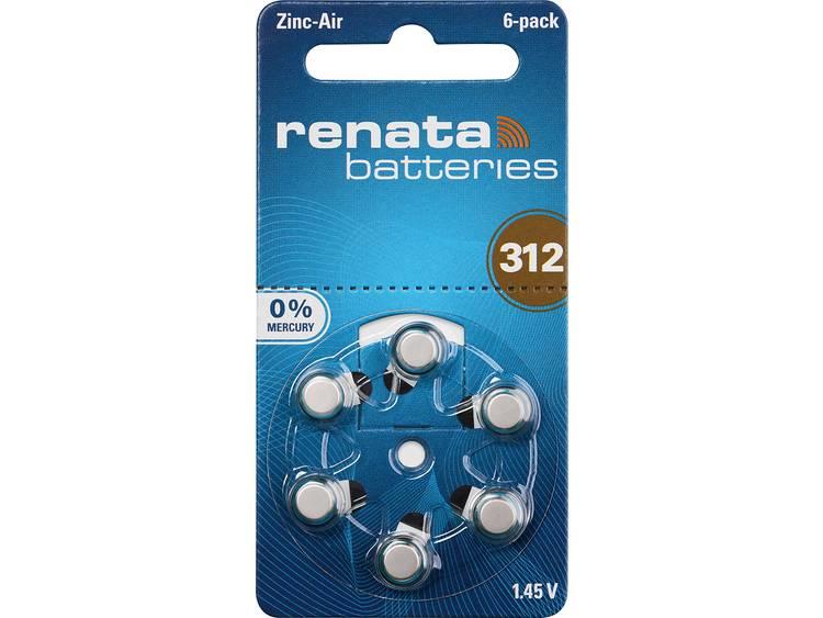 ZA312 Knoopcel Zink-lucht 1.4 V 165 mAh Renata Hearing Aid PR41 6 stuk(s)