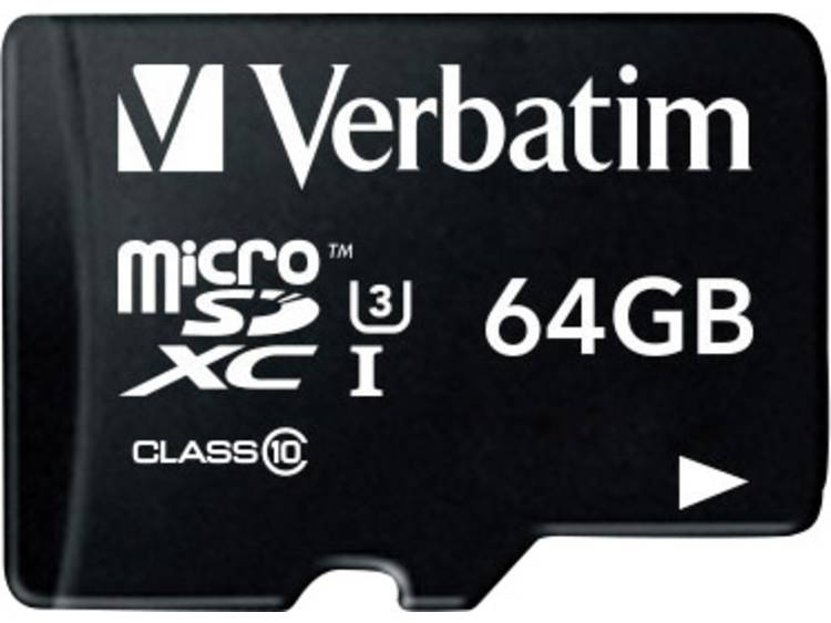 Verbatim PRO microSDXC-kaart 64 GB Class 10, UHS-I, UHS-Class 3 incl. SD-adapter