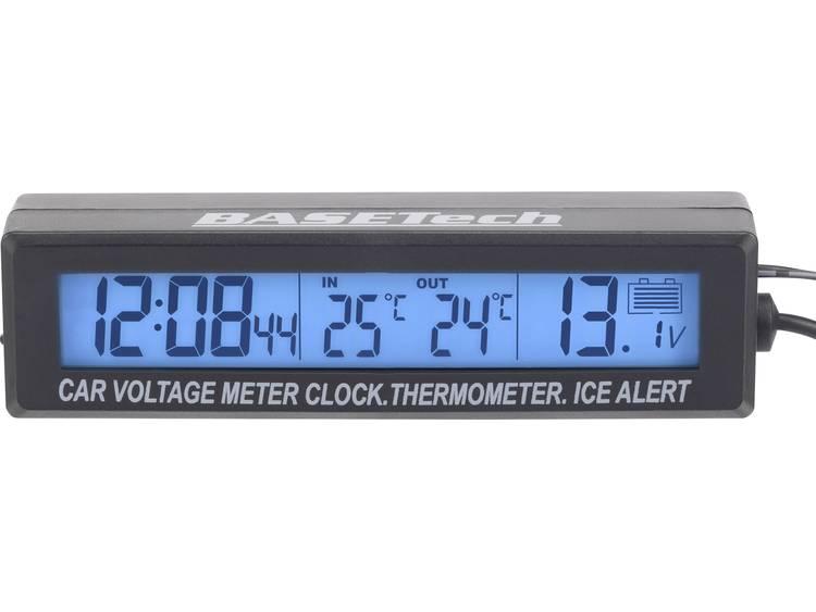 EC88 Basetech Thermometer Opbouw, IJswaarschuwing, Kabelsensor, Binnentemperatuur, Buitentemperatuur, Voltmeter, 12 24 h weergave 50 tot 70 °C