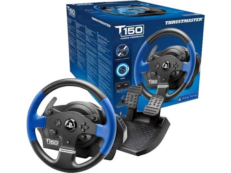 Stuur Thrustmaster T150 RS Force Feedback USB 2.0 PlayStation 3, PlayStation 4, PC Zwart/blauw Incl. pedaal