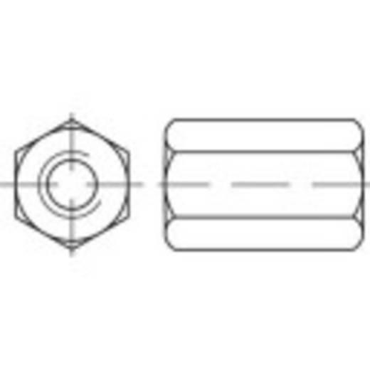 Zeskantmoeren M6 DIN 6334 Staal galvanisch verzinkt 100 stuks TOOLCRAFT 138230