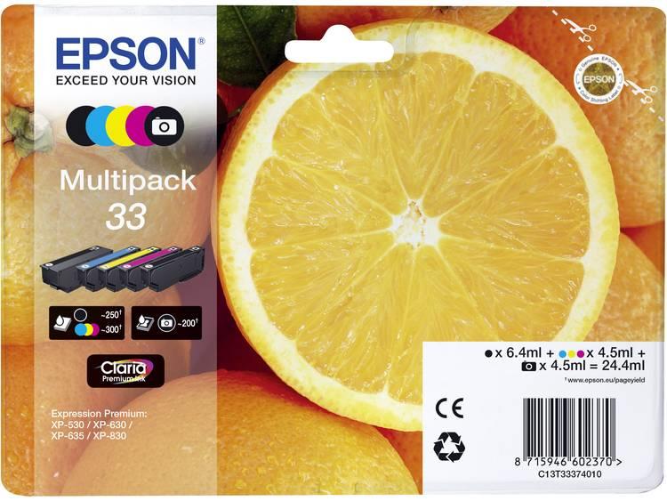 Epson Inkt T3337, 33 Origineel Combipack Zwart, Foto zwart, Cyaan, Magenta, Geel C13T33374511