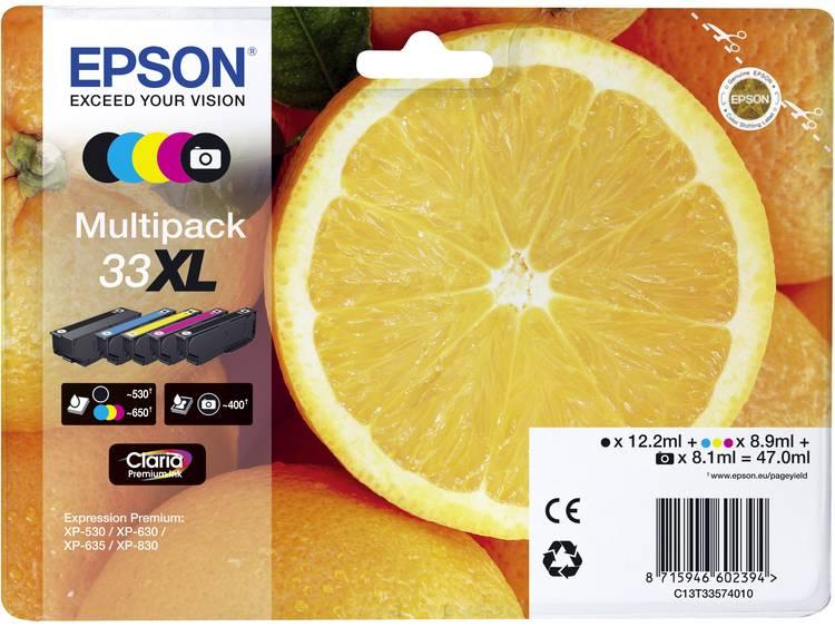 Epson Inkt combipack T3357, 33XL Origineel Combipack Zwart, Foto zwart, Cyaan, Magenta, Geel C13T33574011