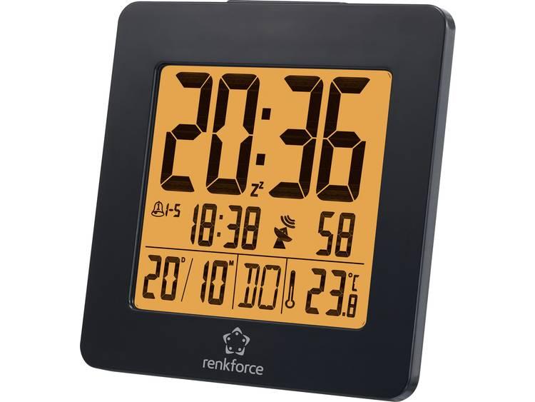 Renkforce 1383425 Wekker Zendergestuurd Zwart Alarmtijden 2