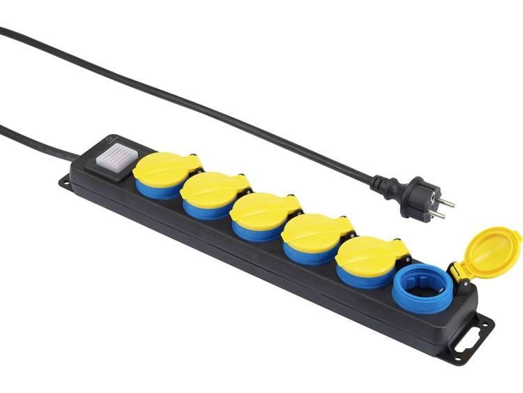 renkforce Stekkerdoos met schakelaar 6-voudig 5 m Geaarde stekker Zwart, Geel, Blauw