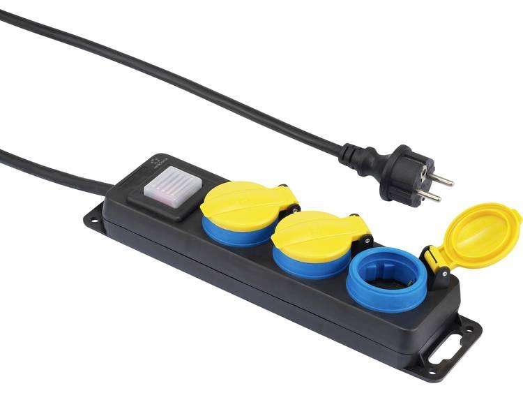 renkforce Stekkerdoos met schakelaar 3-voudig 5 m Geaarde stekker Zwart, Geel, Blauw