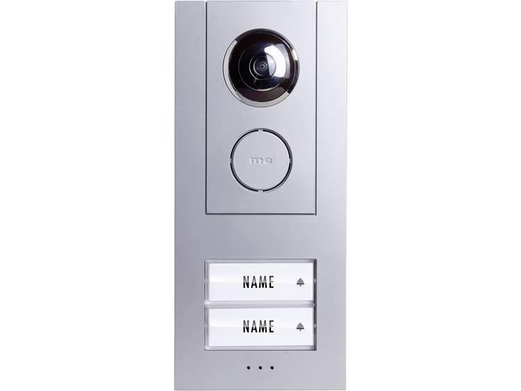 m-e modern-electronics 41008 Buitenunit voor Video-deurintercom Kabelgebonden 2 gezinswoning Zilver