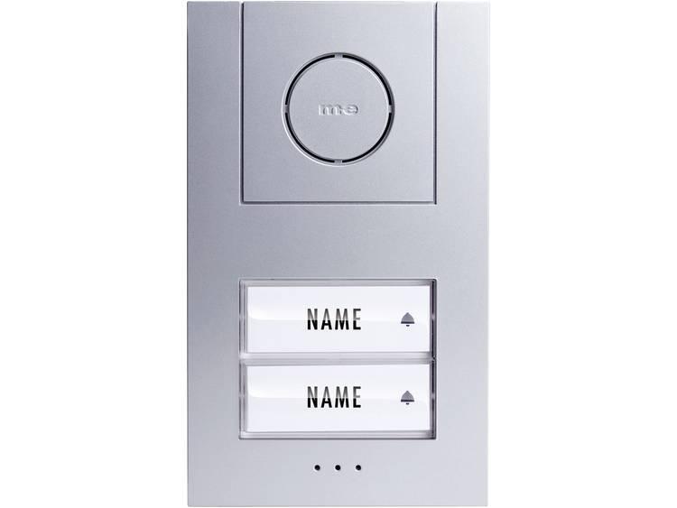 m-e modern-electronics 41005 Buitenunit voor Deurintercom Kabelgebonden 2 gezinswoning Zilver, Wit