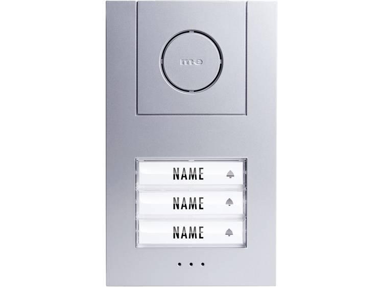 m-e modern-electronics 41006 Deurintercom Kabelgebonden Buitenunit voor 3 gezinswoning Zilver, Wit