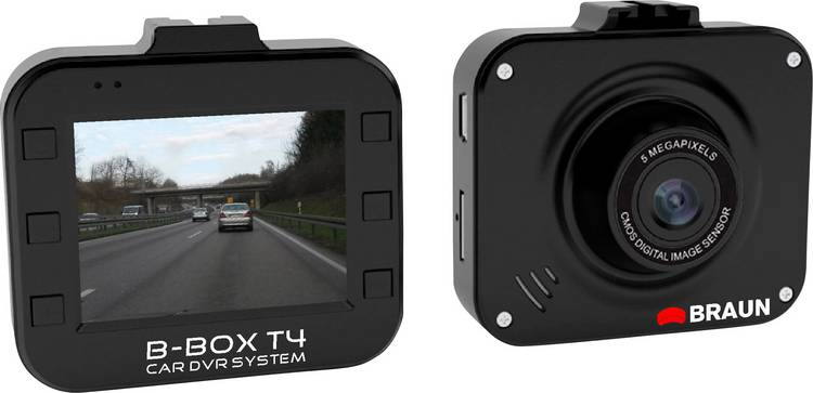 Braun Germany B-Box T4 Dashcam Kijkhoek horizontaal (max.): 120  12 V Accu. Display. Microfoon