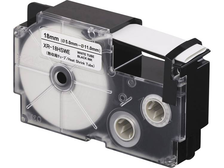 Labeltape krimpkous Casio XR XR18HSWE Polyolefine Tapekleur Wit TekstkleurZwar