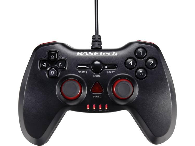 Basetech Gamepad PC Zwart, Rood