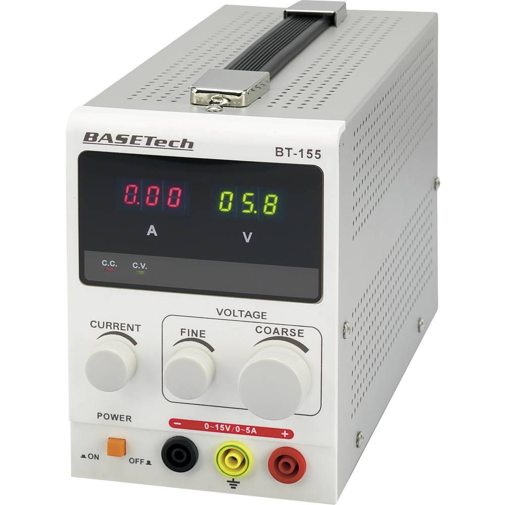 Basetech BT-155 Laboratorieaggregat, justerbar 0 - 15 V/DC 0 - 5 A 75 W Antal utgångar 1 x