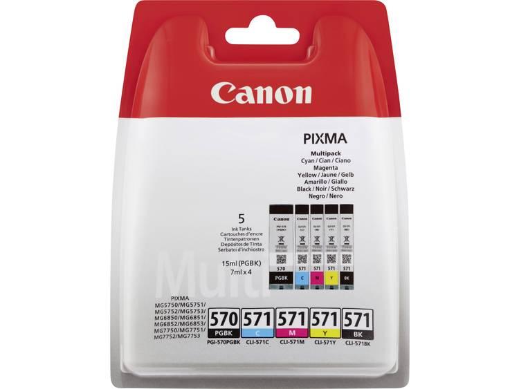 Canon Inkt PGI-570, CLI-571 PBKBKCMY Origineel Combipack Zwart, Foto zwart, Cyaan, Magenta, Geel 0372C004