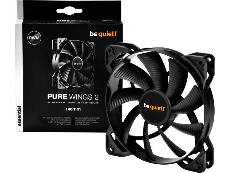 PC ventilator BeQuiet Pure Wings 2 140 mm PWM Zwart (b x h x d) 140 x 140 x 25 mm
