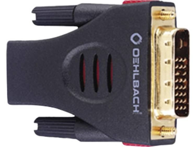 Oehlbach DVI-HDMI Adapter [1x DVI-stekker 18+1-polig <=> 1x HDMI-bus] Zwart