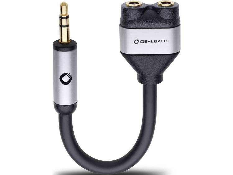 Oehlbach Jackplug Audio Y-adapter [1x Jackplug male 3.5 mm 2x Jackplug female 3.5 mm] Zwart