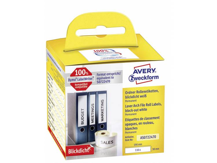 Avery-Zweckform Etiketten (rol) 190 x 38 mm Papier Wit 110 stuks Permanent AS0722470 Ordneretiketten