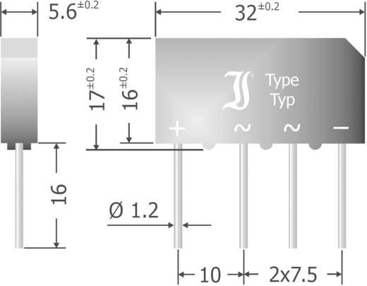 Silicium-bruggelijkrichter Diotec B500C5000-3300A Soort behuizing SIL Nominale stroom (details) 1.5 A U(RRM) 1000 V