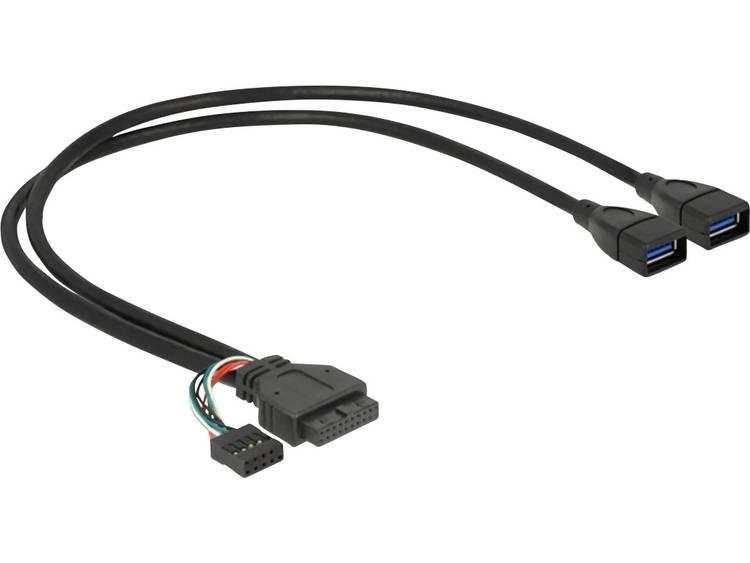 DeLOCK USB3.0 Kabel Delock Pinheader 19pin+9pin -> 2x A Bu-Bu 0.45m (83829)