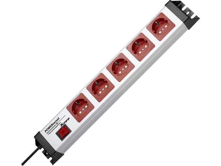 Kopp 227720019 Overspanningsveilige stekkerdoos 5-voudig 1.40 m Geaarde stekker Grijs, Zwart, Rood