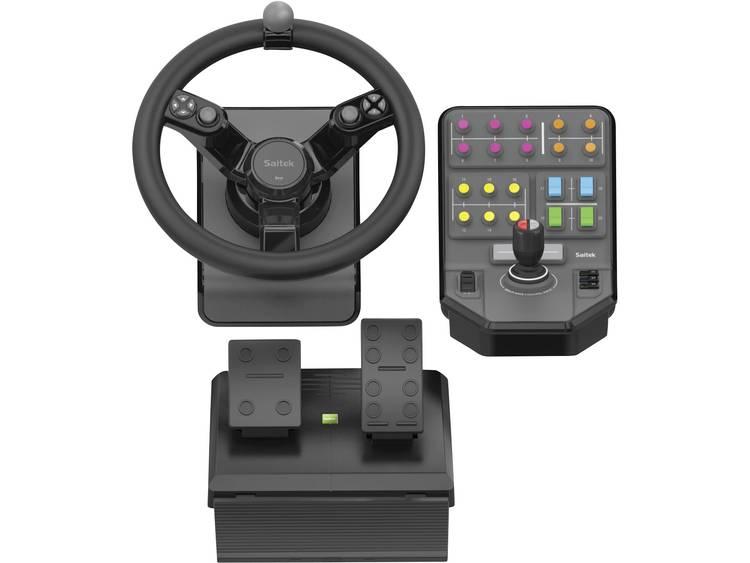 Stuur Logitech Gaming Saitek Landwirtschaftssimulator Set USB PC Zwart Incl. pedaal