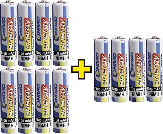 Conrad energy Oplaadbare AAA batterij (potlood) NiMH 1100 mAh 1.2 V 12 stuks ( 8+ 4 gratis)