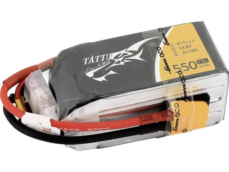 LiPo accupack 14.8 V 1550 mAh 75 C Tattu XT60