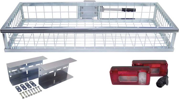 Image of Berger & Schröter Fietsenrekken verzinkt met verlichting 31437 Bagagerek voor op de trekhaak (b x h x d) 105 x 16 x 45 cm Verzinkt