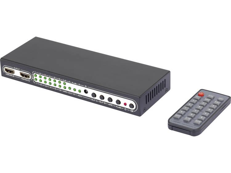 SpeaKa Professional 6 poorten HDMI-matrix-switch met Picture in Picture, met afstandsbediening 3840