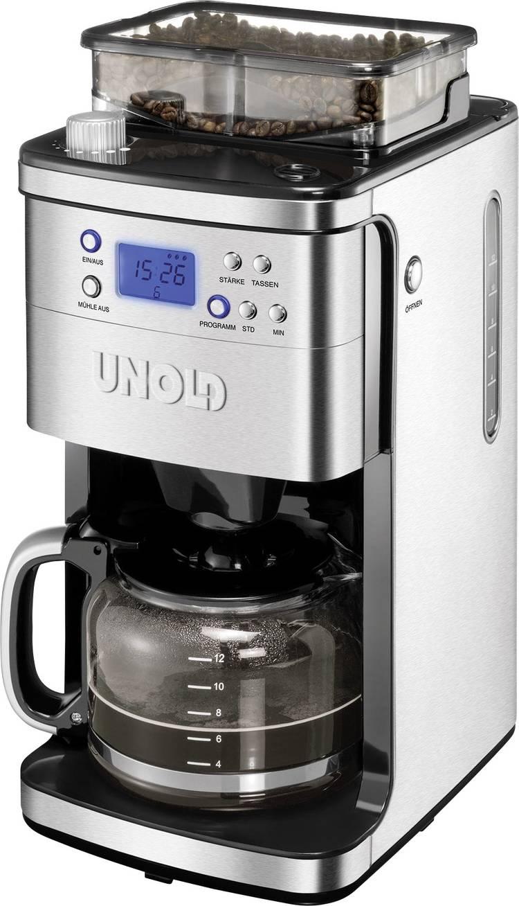 Image of Koffiezetapparaat Unold RVS, Zwart Capaciteit koppen=12 Display, Glazen kan, Timerfunctie, Warmhoudfunctie, met koffiemolen