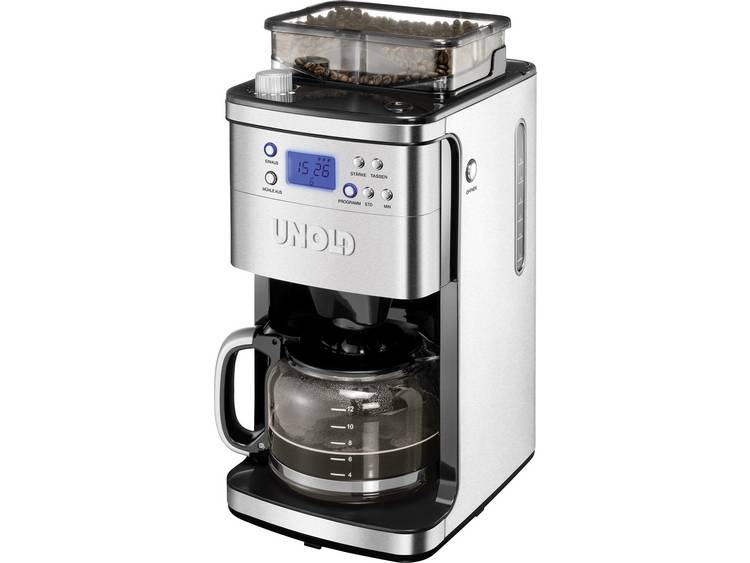 Unold Koffiezetapparaat RVS. Zwart Capaciteit koppen: 12 Display. Glazen kan. Timerfunctie. Warmhoudfunctie. Met koffiemolen