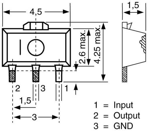 Spanningsregelaar - lineair, type 78 Toshiba TA 78 L12 F SOT-89 Positief Vast 12 V 150 mA