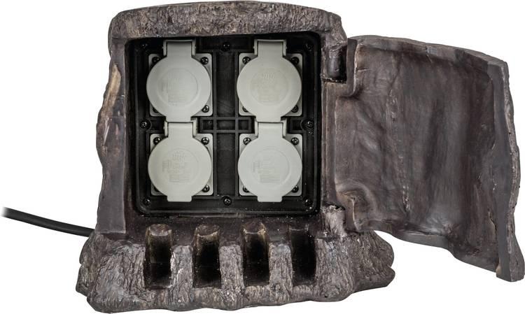 Heitronic 37500 Tuinstekkerdoos 4-voudig Bruin