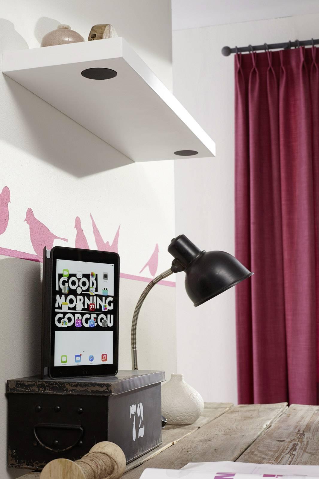 Duraline Draadloze Speaker Wandplank.Wireless Stereo Speaker Shelf Wandregal Bluetooth Luidspreker Wit