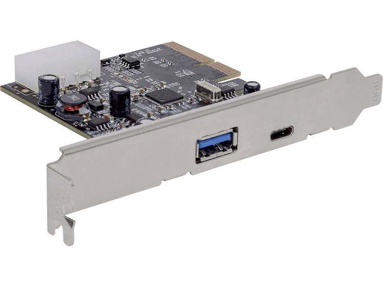 2 poorten USB 3.1-controllerkaart USB-A, USB-C PCIe Manhattan 151757