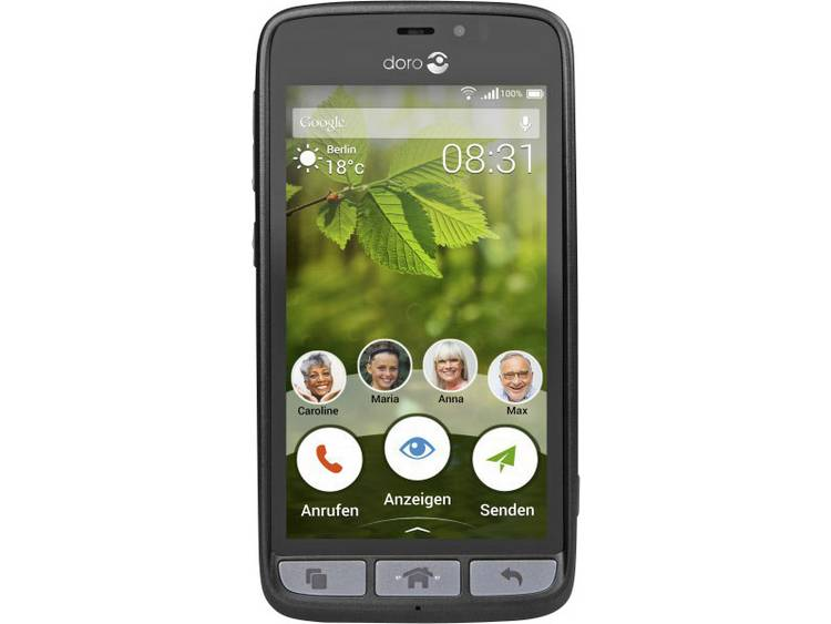 doro 8031 Single-SIM Dual-SIM senioren smartphone 11.4 cm (4.5 inch) 1.1 GHz Quad Core 8 GB 5 Mpix Android 5.1 Lollipop Zwart, Staal