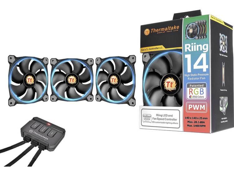 PC ventilator Thermaltake Riing 14 LED RGB - 3er Set Zwart (b x h x d) 140 x 140 x 25 mm